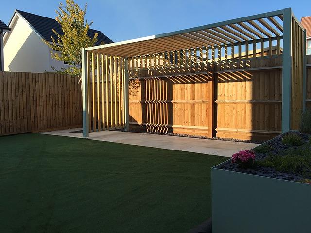 zahrada, dřevěná pergola, konstrukce